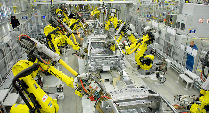 Industrial production in Russia - Hyundai - Russian car industry - industrial robots - Russian plant of Hyundai - new SPIC